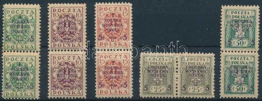 1919 Nemzetközi bélyegkiállítás sor párokban Mi 118-122 A