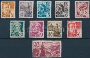 Baden 1948 Híres emberek és tájkép sor Mi 28-37