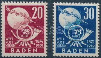Baden 1949 75 éves az UPU sor Mi 56-57