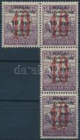 Nyugat-Magyarország VI. 1921 Arató 10K/15f négyes összefüggésben, Bodor vizsgálójellel (4.800) (1 értéken foghiba)