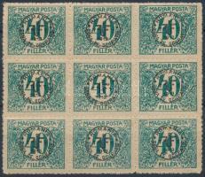 Debrecen II. 1920 Portó 40f kilencestömbben, Bodor vizsgálójellel (5.400) (apró rozsdafoltok)