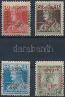 Szeged 1919 Károly 10f, 20f, 25f és Zita 40f, Bodor vizsgálójellel (23.000)