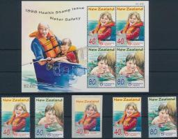 Child protection set + stamps from block + self-adhesive stamp + block, Gyermekvédelem, biztonság a vízben sor + blokkból kitépett értékek + öntapadós bélyeg + blokk