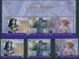 Queen Mother Elizabeth set + block, Erzsébet anyakirálynő születésének 100. évfordulója sor + blokk