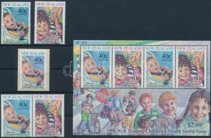 Children set + pair from block + 1 self-adhesive stamp + block, Gyermek sor + blokkból kitépett pár + 1 öntapadós bélyeg + blokk