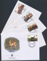2003 WWF mocsári antilop sor Mi 721-724 4 FDC