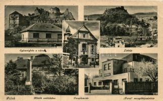 Fülek, Egészségház, vár, Hősök emlékműve, Templom tér, Turul mozgóképszínház / Health center, castle, Monument of heroes, Church square, cinema (EB)