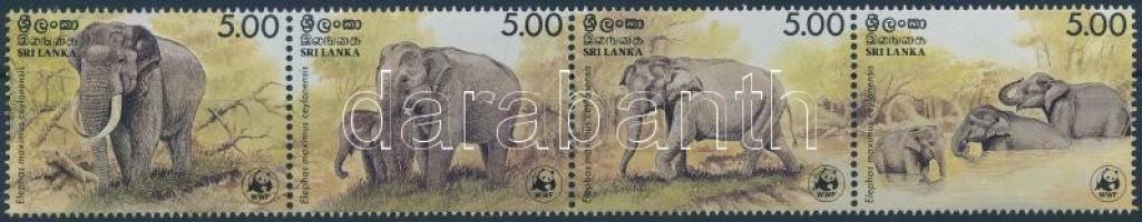 1986 WWF Ceyloni Elefánt négyescsík Mi 753-756