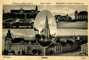 Szentes, Városháza, Petőfi szálló, Takarékpénztár, Erzsébet tér