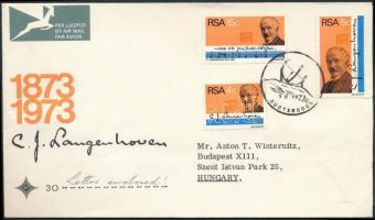 1973 C. J. Langenhoven 100. születésnapja sor FDC-n Mi 424-426 (sérült boríték)