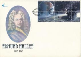 Halley's Comet minisheet on FDC, Halley-üstökös kisív FDC-n