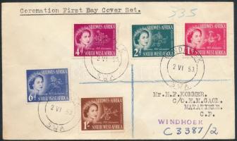 1953 II. Erzsébet királynő sor FDC-n Mi 274-278