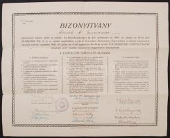 1941 Német tannyelvű iskolák tanítói számára továbbképző tanfolyam oklvele