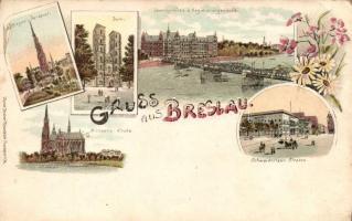 Wroclaw, Breslau; Lessingbrücke, Schweidnitzer Strasse, Dom, Sieges-Denkmal; floral litho
