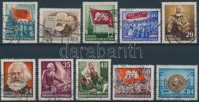 1952 Karl Marx halálának 70. évfordulója sor Mi 344-353