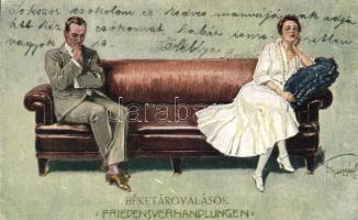 Friedensverhandlungen / couple, romantic postcard, humour, 'Béketárgyalások', humoros művészlap
