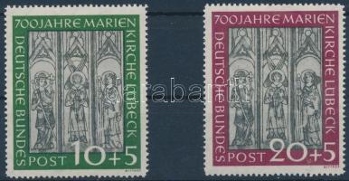 1951 700 éves a lübecki Mária-templom sor Mi 139-140