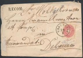 1864 5kr + 10kr ajánlott levélen NAGY KÁLLÓ - DEBRECZIN RECOMAN