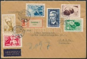 1949 Ajánlott levél Norvégiába VIT sorral + díjkiegészítéssel