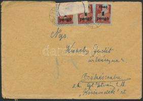 1945 (3.díjszabás) Távolsági cenzúrázott levél Kisegítő (I) 10x1P/70f bérmentesítéssel (sérült boríték)