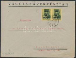 1945 (3.díjszabás) Távolsági céges levél Kisegítő (II) 5P/8f párral bérmentesítve