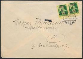 1945 (2.díjszabás) Helyi levél Kisegítő (I) 1P/1P ívszéli párral bérmentesítve