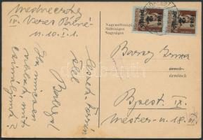 1945 (3.díjszabás) Helyi képes levelező Kisegítő (I) 2P/4f párral bérmentesítve