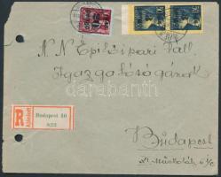 1945 (3.díjszabás) Ajánlott helyi levél Kisegítő (II) 3P/50f párral + 20P/30f bérmentesítéssel (sérült boríték)