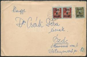 1945 (3.díjszabás) Távolsági levél Kisegítő (I-II) 1P/70f ívszéli párral + 8P/20f bérmentesítéssel