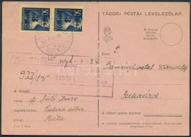 1945 (3.díjszabás) Távolsági levelezőlap Kisegítő (II) 3P/50f párral bérmentesítve