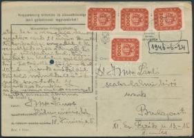1946 (20.díjszabás) Távolsági levelezőlap Milpengős 4x3000mP bérmentesítéssel