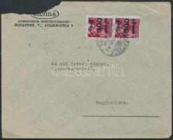 1946 (9.díjszabás) Távolsági céges levél Kisegítő (III) 2x300P/30f bérmentesítéssel (kis rész hiányzik a borítékból)