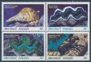 1986 WWF tengeri csigák és kagylók négyestömb Mi 73-76