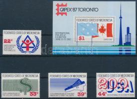 1987 Nemzetközi bélyegkiállítás CAMPEX sor Mi 68-71 + blokk 2