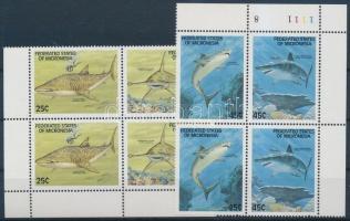 1989 Cápák sor ívsarki 4-es tömbökben Mi 128-131
