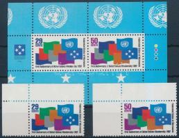 1992 ENSZ tagsági évforduló ívsarki sor Mi 262-263 + blokk 11
