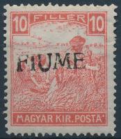 Fiume 1918 Fehérszámú Arató 10f kézi felülnyomással (20.000) / Mi 6 with manual overprint. Signed: Bodor