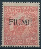 Fiume 1918 Hadisegély III. 10f kézi felülnyomással (30.000) / Mi 3 with manual overprint. Signed: Bodor