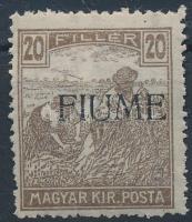 Fiume 1918 Arató 20f kézi felülnyomással, a felülnyomat gépszínátnyomatával (50.000) / Mi 14 manual overprint, with machine offset. Signed: Bodor