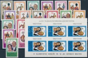 1975-1977 17 stamps + sheet piece of 6 + 6 mini sheets, 1975-1977 17 klf bélyeg, 1 hatos füzetösszefüggés és 6 db kisív 2 stecklapon