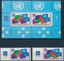 1992 ENSZ tagsági évforduló ívszéli sor Mi 262-263 + blokk 11