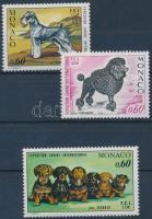 1974-1976 Nemzetközi kutyakiállítás 3 klf bélyeg Mi 1120, 1182, 1219