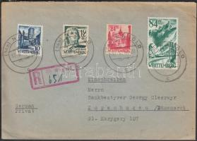 1948 Württemberg Ajánlott levél Dániába