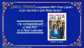 Diana és Károly herceg esküvője bélyegfüzet Prince Charles and Diana's wedding stamp-booklet