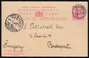 1906 8c díjjegyes válaszos levelezőlap Budapestre, használatlan válaszlappal / PS-card with reply to Hungary, reply unused