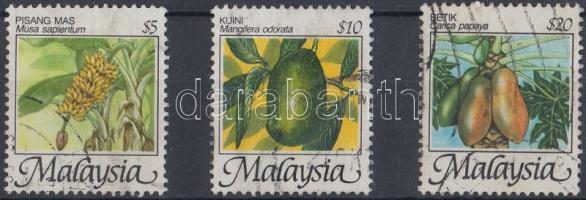 1986 Gyümölcsök záróértékek Mi 335-337 II Y