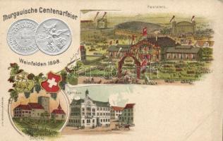 1898 Weinfelden, Thurgauische Centenarfeier / anniversary festival, Emb. coins Lith. Geser & Co. litho