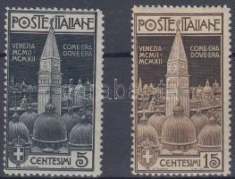 1912 A velencei Szt. Márk templom harangtornya sor Mi 105-106