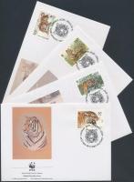 1993 WWF szibériai tigris sor Mi 343-346 4 FDC