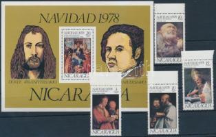 1978 Karácsony; Festmény ívszéli sor Mi 2056-2059 + blokk 109